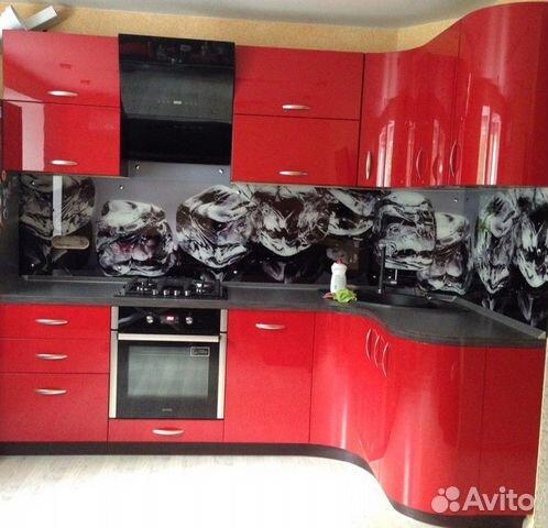 Красная угловая кухня глянец