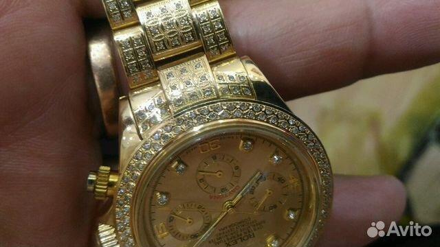 Золотые часы ролекс с бриллиантами 750