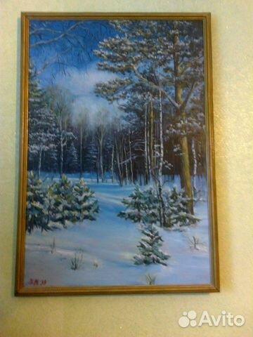 89125029796  Картина маслом на холсте Зимний лес