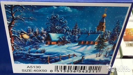 84942303606 Алмазная мозаика 40х50 на холсте, зима А5130
