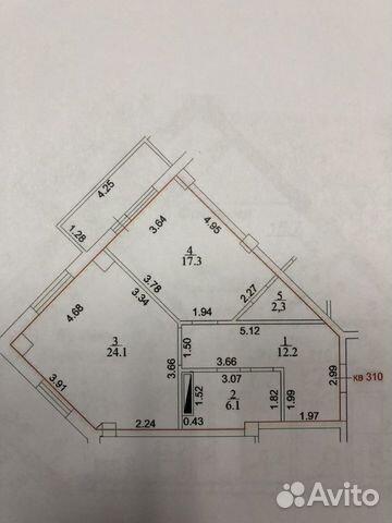 2-к квартира, 63.3 м², 13/16 эт.