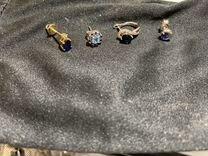 Золотые серьги, 4 пары, в падарок золотой браслет