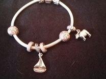 Новый серебряный браслет pandora с 6 шармами